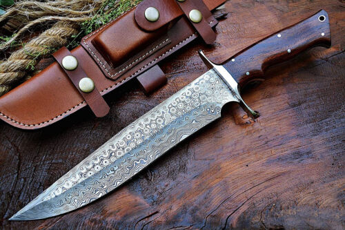 Damascus Steel Knife | Handmade Damascus steel Bowie With Leather Sheath