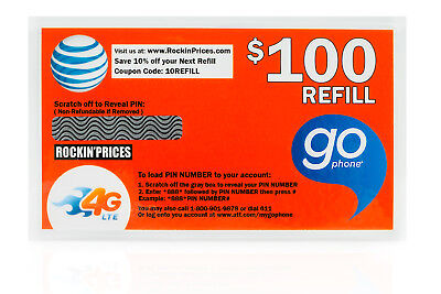 At T Go Phone  100 Refill Pin   Physical Refill Card Top Up 1 Year Us Seller Att
