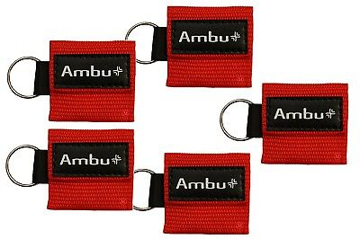 (5 lot RED Ambu Res-Cue Key MINI CPR Keychain Masks / Face Shield Barrier Kits)