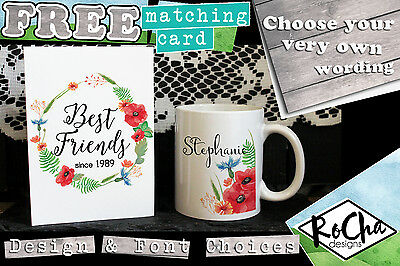 Personalised Best Friend Mug +FREE CARD Gift Ideas For Her Any Design &