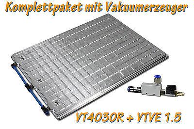 Vakuumtisch Set 4030R 400x300mm + Vakuumerzeuger, Spannplatte, Vakuumpumpe, CNC