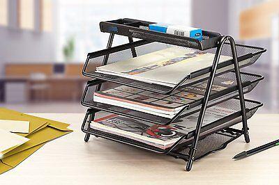 Halter Steel Mesh Desktop 3-Tier Shelf Tray Organizer - Letter-Size - Black