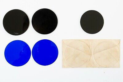 Lot Of 7 Vintage 50mm Round Welding Glass Lenses 2 Clear 2 Green 2 Blue 1 Yellow