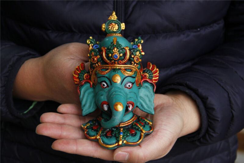 "7"" China Tibet Handmade Turquoise gilt Elephant Buddha Mammon Mask"