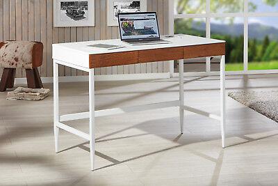 3 Schublade Eiche Schreibtisch (SCHREIBTISCH MDF / Metall, weiß - Eiche massiv, 3 Schubladen NEU & OVP)