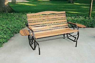 Wooden Porch Glider Bench Seat 2 Person Rocker Patio Garden Wide Chair Outdoor