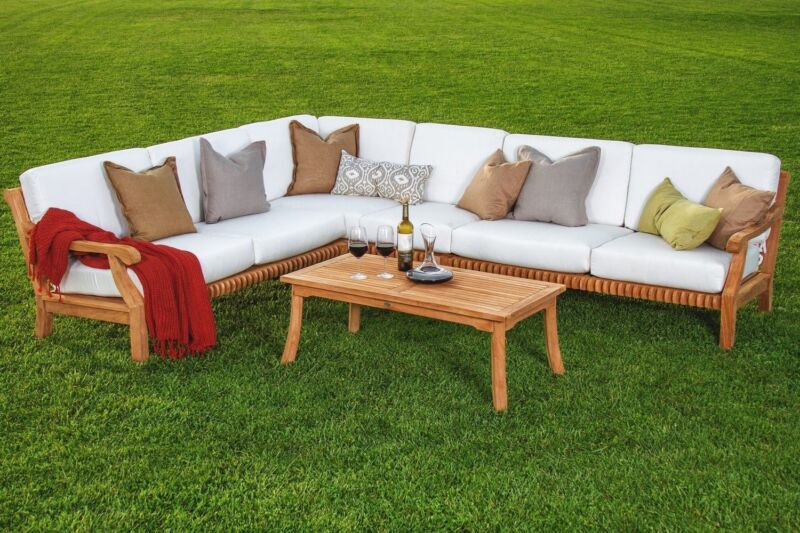 5 Pc Sectional Sofa Set Teakwood Teak Wood Garden Indoor Outdoor Patio Pool Giva