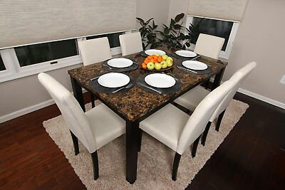7pc Espresso Marble Dining Space Kitchen Set Table 6 Ivory Parson Chairs 7 piece