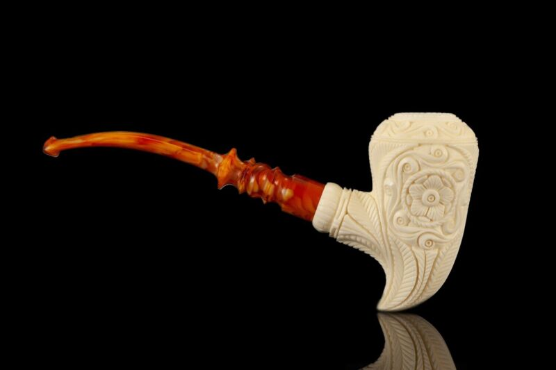 Deep carving Pickaxe Pipe By EGE  Block  MEERSCHAUM-NEW-HAND CARVED W Case#1370