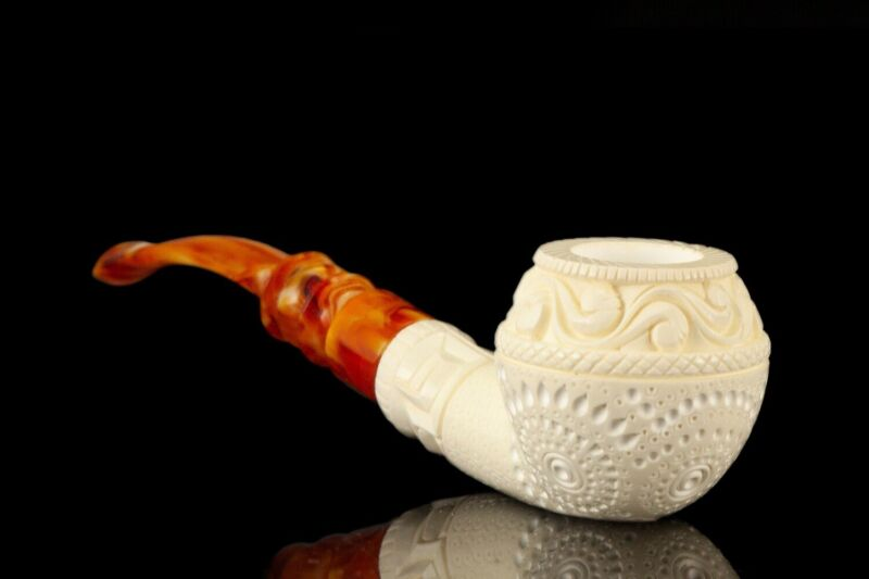 Ornate Rhodesian Pipe By H EGE  BLOCK MEERSCHAUM-NEW-HAND CARVED W Case#1225