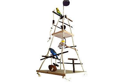 XXL Vogelspielplatz mit 2 Sitzbrettern, vielen Sitzstangen und Vogelspielzeug