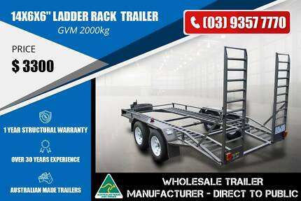 Tandem Axle Car Carrier Trailer - 14x6x6'' - Ladder Rack Epping Whittlesea Area Preview