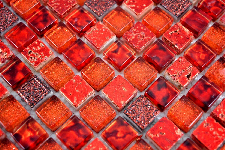 Mosaik Fliese Transluzent rot Glasmosaik Crystal Resin rot Wand Bad 92-0904/_b