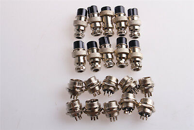 10pcs Gx16-5 5pin Screw-on Aviation Connector Plug Socket Male And Female 16mm