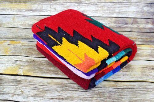 Mexican Blanket Vintage Style Native Diamond RED Serape Saltillo Falsa Southwest