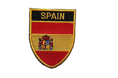SPAIN COUNTRY FLAG OVAL SHIELD FLAG EMBROIDERED IRON-ON PATCH CREST (Spain Country Flag)