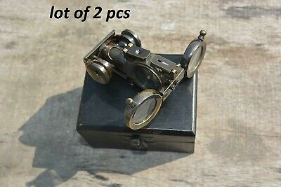 Nautical Antique Maritime Solid Brass Folding Binocular Instrument With Compass