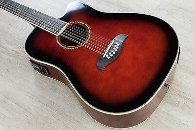 Oscar Schmidt 12-String Dreadnought Acoustic-Electric Guitar Black Cherry ()