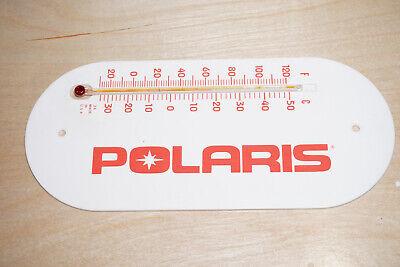 Vintage Polaris USA Snowmobile Thermometer White Plastic w Red Lettering 1970/80