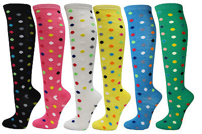 Polka Dots Ladies Colorful Design Assorted Knee High Stocking Socks(6 Pairs)