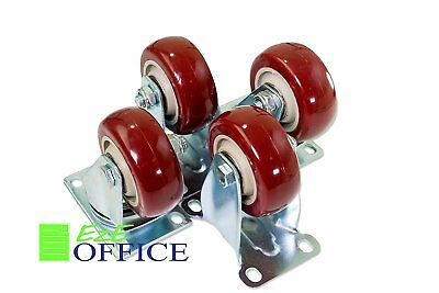 - Caster Wheels 2 Rigid and 2 Swivel Casters On Red Polyurethane Wheels 1200 Lbs