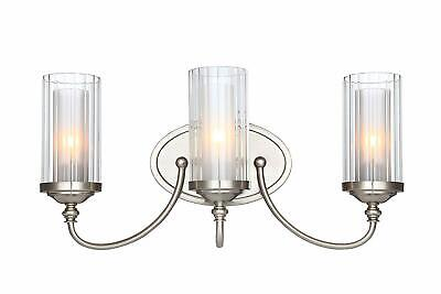 3-Light Vanity Light Fixture Satin Nickel w/ Clear Ribbed Glass Shades