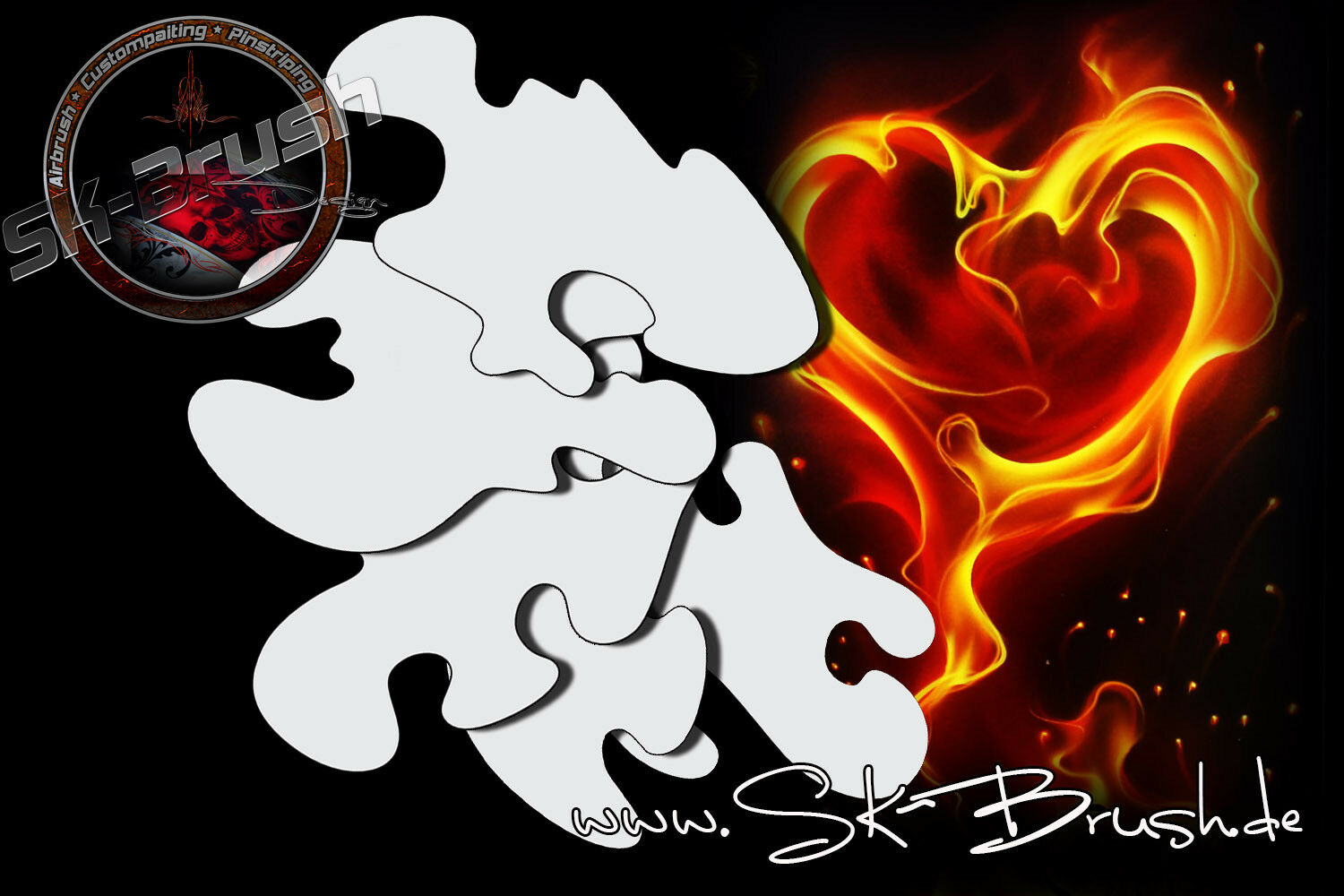 Airbrush Schablone Freehand Feuer & Flammen - True Fire Stencil mini SET 5 Tlg.