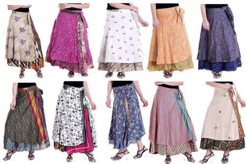 5 PC Vintage Silk Skirts Bohemian Indian Women Flamenco Hippie Summer Dress