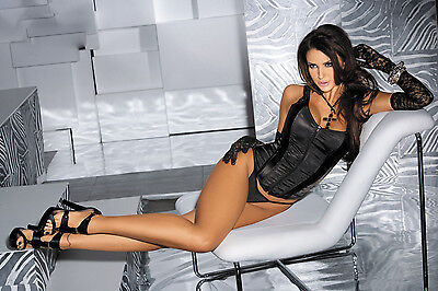 N7068 Sexy Black Lace Up Stretch Satin Corset Front Zipper Bustier Lingerie Hot Sexy Black Satin Lace Bustier