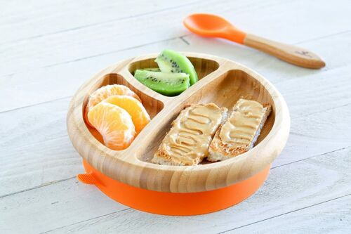 """Avanchy Bamboo Baby Plate with Silicone Suction Base & Spoon Set for Toddlers 7"""""""