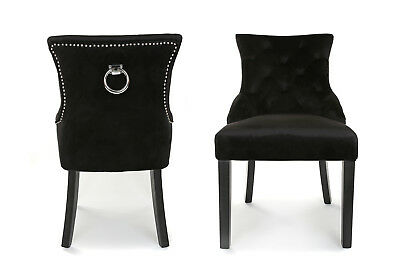 x 2 New Velvet Scoop Back Dining Chair Black With Stud And Knocker Free Delivery