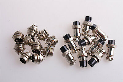 10pcs 4pin 16mm Gx16-4 Aviation Plug Socket Metal Male And Female Connector