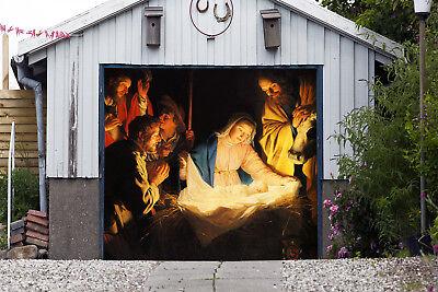 Christmas Nativity Scene Single Garage Door Cover Full Color Door Banner GD201 (Garage Door Scenes)