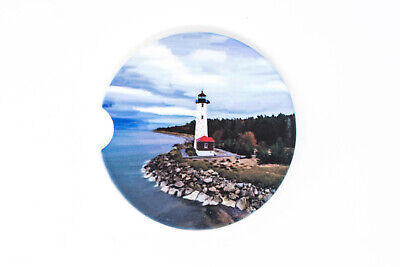 Crisp Point Lighthouse Car Cup Holder Sandstone Coasters, - Photo Coaster