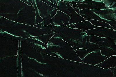 "SILK RAYON VELVET HUNTER GREEN SOLID FABRIC 45"" CLOTHING DRAPERY DRESSES YARD"