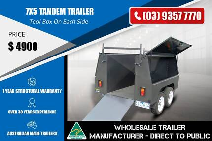 7x5 Tandem Trailer - With Ladder Rack Epping Whittlesea Area Preview