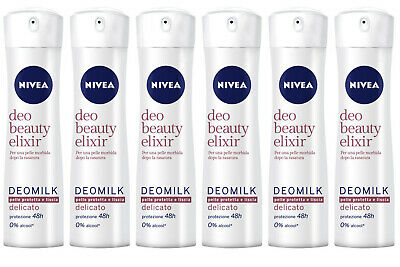 6 pezzi NIVEA Deodorante DEOMILK DELICATO Deo Beauty Elixir protez. 48h 150ml
