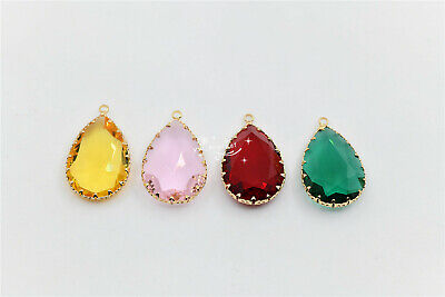 10 pcs 20mm x 30mm faceted crystal glass teardrop inlaided clear pendant