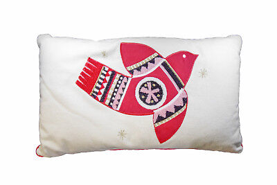 """NWT PROJECT 62 Embroidered Lumbar Bird TOSS PILLOW 16"""" X 26"""" RED & IVORY"""