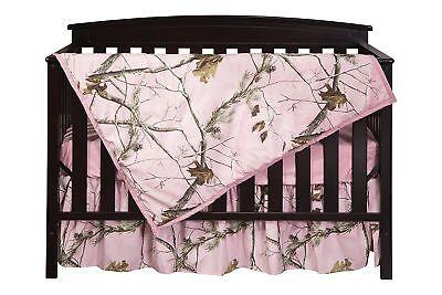Pink Camo Crib Sheet Set Bedding, Quilt Skirt Camouflage Baby Toddler (Camouflage Crib Sheet Sets)