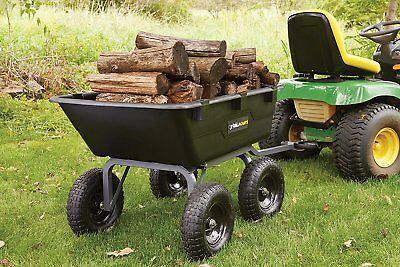 Tow Behind ATV Lawn Tractor Gorilla Poly Dump Cart Garden 1200 Pound Capacity Atv Poly Dump Cart