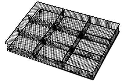 Drawer Organizer Tray Office Supplies Storage Mesh Desk Accessories Metal Black