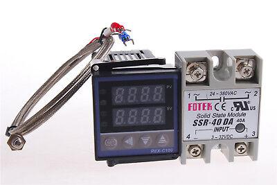 Rex-c100 Digital Rkc Pid Temperature Controller 220v Max.40a Ssr K Probe Cable
