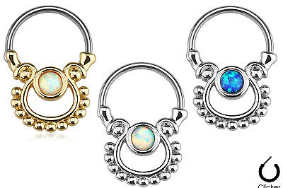 - 1pc Single Opal Design Septum Clicker 316L Surgical Steel 16g Nose Ring