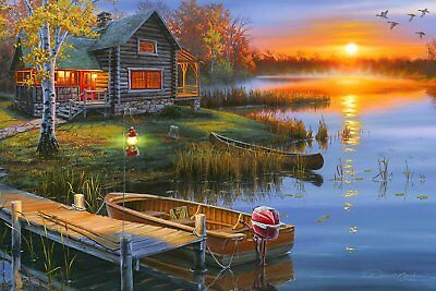 NEW Lake Cabin Lodge LED Light Up Wall Art Canvas Picture Home Office Decor (Led Art)