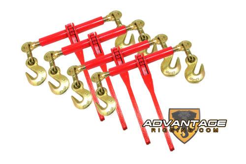 "4 Ratchet Load Binders 3/8"" - 1/2"" Boomer Chain Equipment Tiedown Hauling"