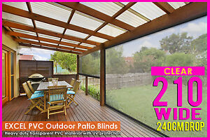 NEW  210CM X 240CM HEAVY DUTY PVC CLEAR PATIO BLIND Outdoor CAFE UV Protect