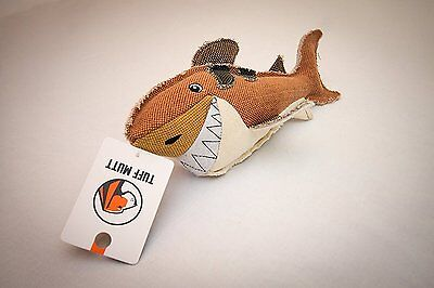 Shark Raw Canvas Premium Dog Toy w/ Squeaker Tough Manly Hunting Durable -