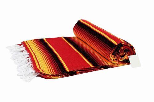 Traditional Mexican Blanket Serape Striped Sunset Red Orange Baja Tapestry Boho