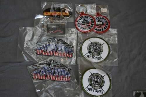 Lot of 8 vintage Deftones patchs and key chain iron on sew on metal acrylic